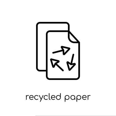 recycled paper icon. Trendy modern flat linear vector recycled paper icon on white background from thin line Ecology collection, outline vector illustration