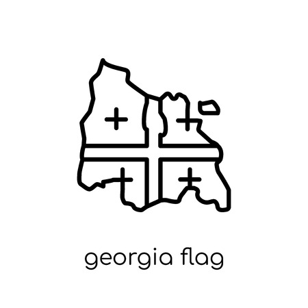 Georgia flag icon. Trendy modern flat linear vector Georgia flag icon on white background from thin line Country Flags collection, editable outline stroke vector illustration Иллюстрация