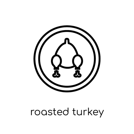 Roasted turkey icon. Trendy modern flat linear vector Roasted turkey icon on white background from thin line United States of America collection, editable outline stroke vector illustration