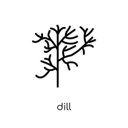 dill icon. Trendy modern flat linear vector dill icon on white background from thin line Fruit and vegetables collection, outline vector illustration Imagens - 112138284