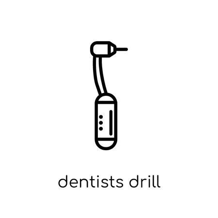 Dentists drill tool icon. Trendy modern flat linear vector Dentists drill tool icon on white background from thin line Dentist collection, editable outline stroke vector illustration