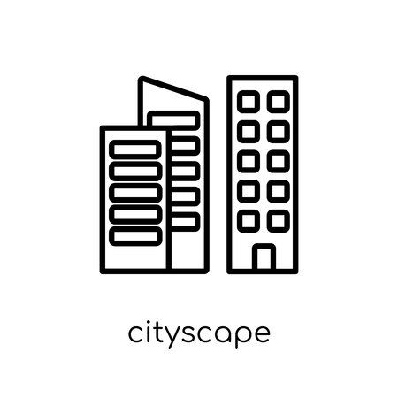 Cityscape icon. Trendy modern flat linear vector Cityscape icon on white background from thin line United States of America collection, editable outline stroke vector illustration