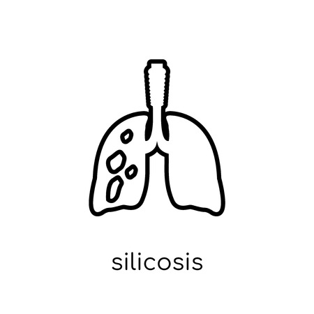 Silicosis icon. Trendy modern flat linear vector Silicosis icon on white background from thin line Diseases collection, editable outline stroke vector illustration Vettoriali