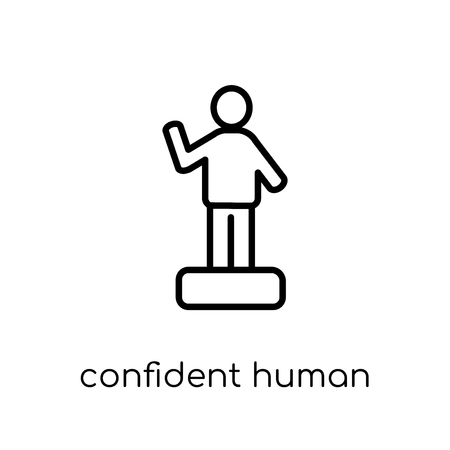 confident human icon. Trendy modern flat linear vector confident human icon on white background from thin line Feelings collection, editable outline stroke vector illustration Illustration