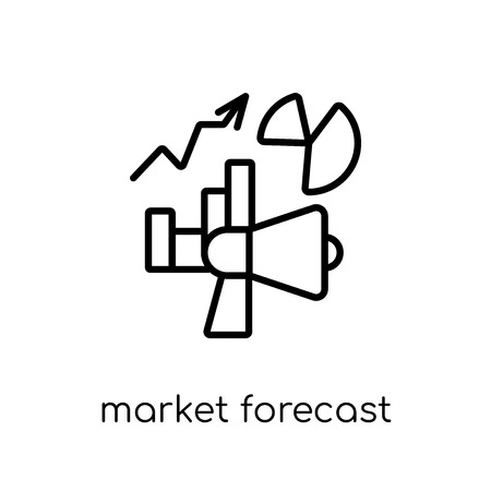 market forecast icon. Trendy modern flat linear vector market forecast icon on white background from thin line Cryptocurrency economy and finance collection, outline vector illustration