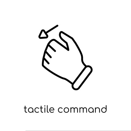 tactile command down gesture icon. Trendy modern flat linear vector tactile command down gesture icon on white background from thin line Hands and guestures collection, outline vector illustration Иллюстрация
