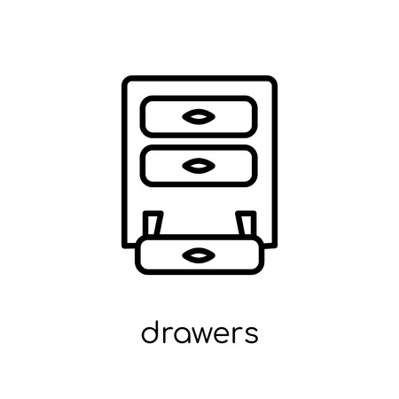 drawers icon. Trendy modern flat linear vector drawers icon on white background from thin line Furniture and household collection, outline vector illustration Archivio Fotografico - 112137979
