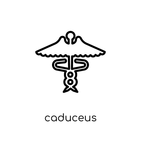 Caduceus icon. Trendy modern flat linear vector Caduceus icon on white background from thin line Health and Medical collection, editable outline stroke vector illustration Stock fotó - 112137983