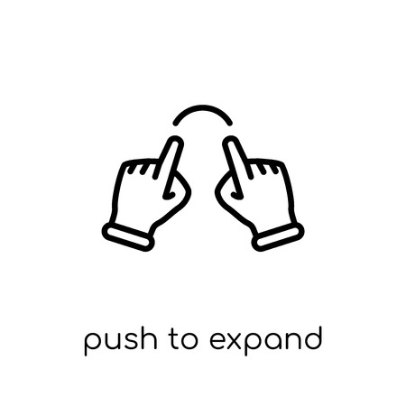 Push to expand icon. Trendy modern flat linear vector Push to expand icon on white background from thin line Hands and guestures collection, editable outline stroke vector illustration Illustration