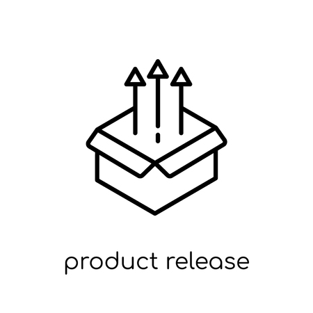 product release icon. Trendy modern flat linear vector product release icon on white background from thin line General collection, editable outline stroke vector illustration