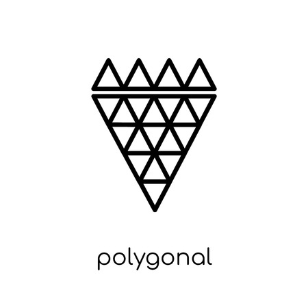 polygonal diamond shape of small triangles icon. Trendy modern flat linear vector polygonal diamond shape of small triangles icon on white background from thin line Geometry collection, outline vector illustration Illustration