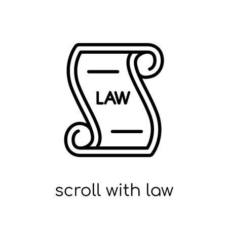 Scroll with law icon. Trendy modern flat linear vector Scroll with law icon on white background from thin line law and justice collection, editable outline stroke vector illustration Banco de Imagens - 112137986