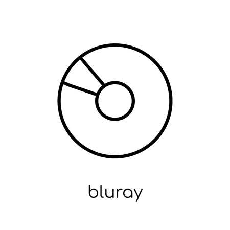 Bluray icon. Trendy modern flat linear vector Bluray icon on white background from thin line hardware collection, editable outline stroke vector illustration