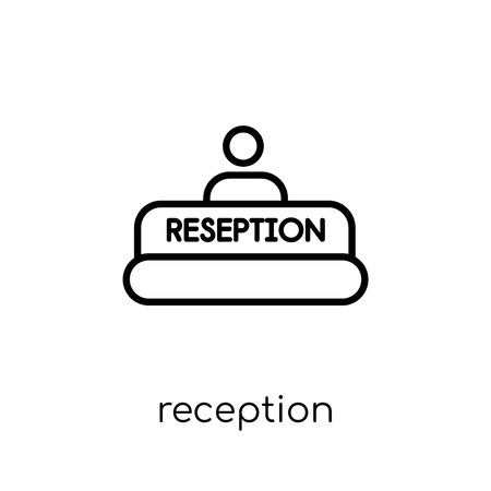 reception icon. Trendy modern flat linear vector reception icon on white background from thin line Hotel collection, outline vector illustration Illustration