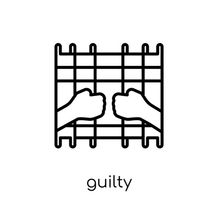 Guilty icon. Trendy modern flat linear vector Guilty icon on white background from thin line law and justice collection, editable outline stroke vector illustration