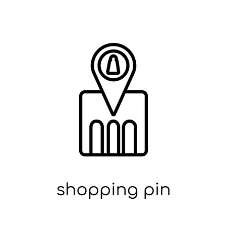 Shopping Pin icon. Trendy modern flat linear vector Shopping Pin icon on white background from thin line Maps and Locations collection, editable outline stroke vector illustration 矢量图像