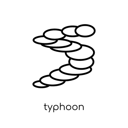 typhoon icon. Trendy modern flat linear vector typhoon icon on white background from thin line Weather collection, outline vector illustration