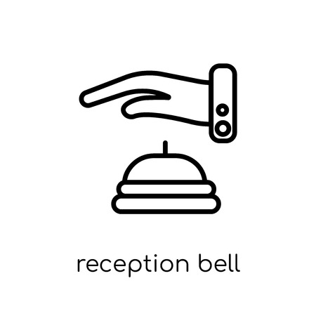 reception bell icon. Trendy modern flat linear vector reception bell icon on white background from thin line Hotel collection, outline vector illustration Illustration