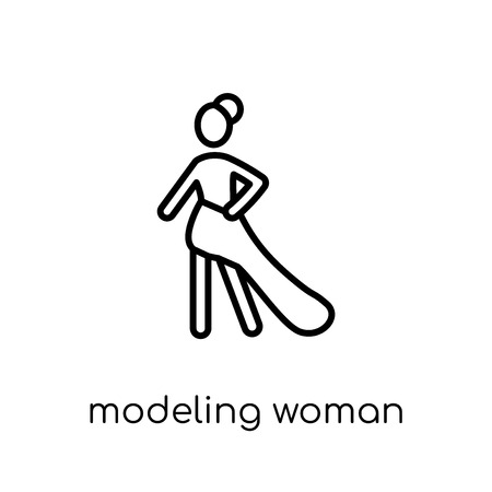 Modeling Woman icon. Trendy modern flat linear vector Modeling Woman icon on white background from thin line Ladies collection, editable outline stroke vector illustration  イラスト・ベクター素材