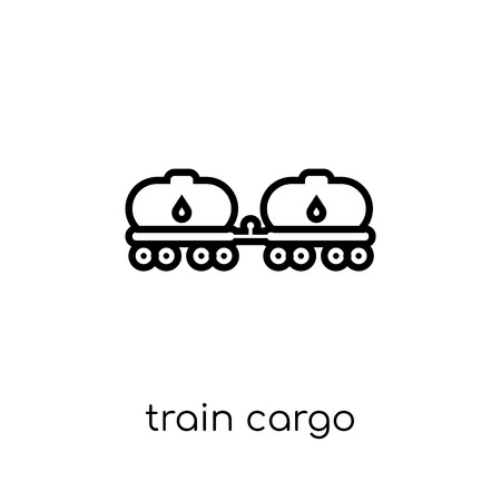 train cargo icon. Trendy modern flat linear vector train cargo icon on white background from thin line Industry collection, outline vector illustration