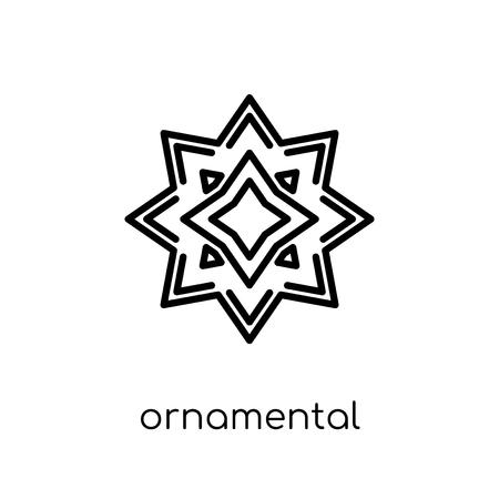 ornamental rotating polygonal icon. Trendy modern flat linear vector ornamental rotating polygonal icon on white background from thin line Geometry collection, outline vector illustration Çizim