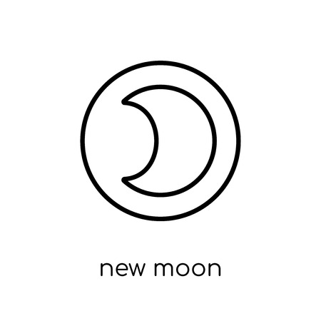 new moon icon. Trendy modern flat linear vector new moon icon on white background from thin line Weather collection, outline vector illustration Stock Illustratie