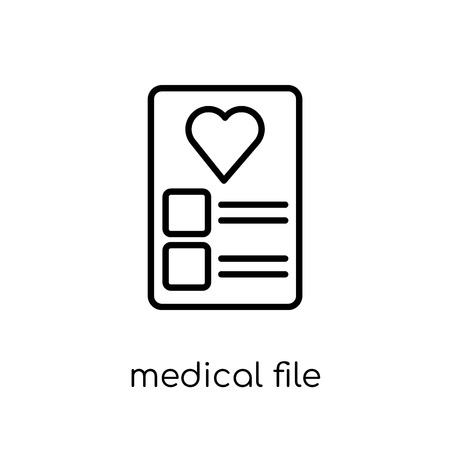 medical File icon. Trendy modern flat linear vector medical File icon on white background from thin line Health and Medical collection, editable outline stroke vector illustration