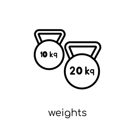 Weights icon. Trendy modern flat linear vector Weights icon on white background from thin line Gym and fitness collection, editable outline stroke vector illustration Stock Vector - 112137487