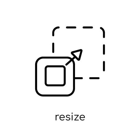 resize icon. Trendy modern flat linear vector resize icon on white background from thin line collection, outline vector illustration Archivio Fotografico - 112137490