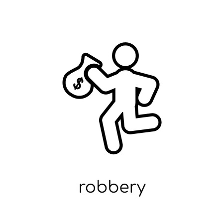 Robbery icon. Trendy modern flat linear vector Robbery icon on white background from thin line Insurance collection, editable outline stroke vector illustration Çizim