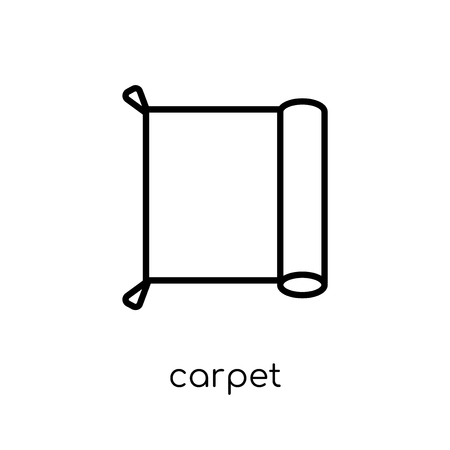 carpet icon. Trendy modern flat linear vector carpet icon on white background from thin line Furniture and household collection, outline vector illustration