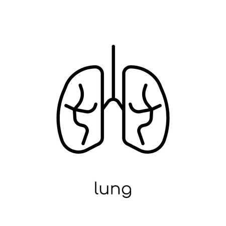 Lung icon. Trendy modern flat linear vector Lung icon on white background from thin line Health and Medical collection, editable outline stroke vector illustration