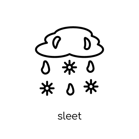 sleet icon. Trendy modern flat linear vector sleet icon on white background from thin line Weather collection, outline vector illustration Banque d'images - 112137363