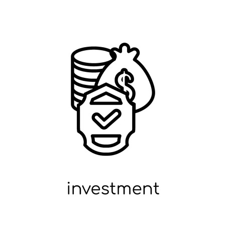 Investment insurance icon. Trendy modern flat linear vector Investment insurance icon on white background from thin line Insurance collection, editable outline stroke vector illustration Ilustracja