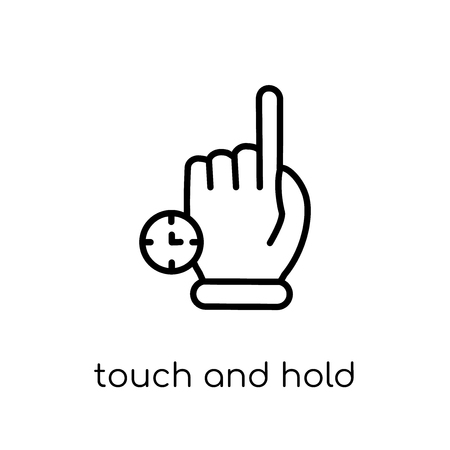 Touch and Hold icon. Trendy modern flat linear vector Touch and Hold icon on white background from thin line Hands and guestures collection, editable outline stroke vector illustration
