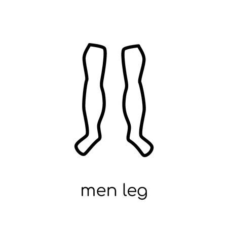 Icono de pierna de hombres. Moda moderno icono de pierna de hombres vector plano lineal sobre fondo blanco de línea fina colección de partes del cuerpo humano, Ilustración de vector de movimiento editables contorno Ilustración de vector