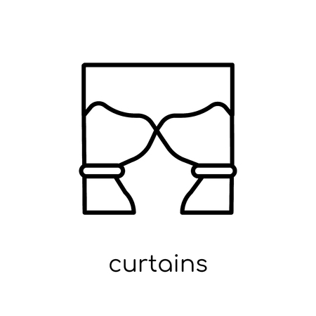 curtains icon. Trendy modern flat linear vector curtains icon on white background from thin line Furniture and household collection, outline vector illustration Ilustracja