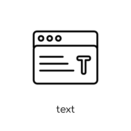 text icon. Trendy modern flat linear vector text icon on white background from thin line collection, outline vector illustration