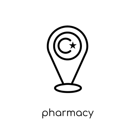 Pharmacy Sign icon. Trendy modern flat linear vector Pharmacy Sign icon on white background from thin line Maps and Locations collection, editable outline stroke vector illustration
