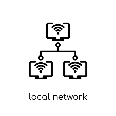 Local network icon. Trendy modern flat linear vector Local network icon on white background from thin line Internet Security and Networking collection, editable outline stroke vector illustration Banco de Imagens - 112137405