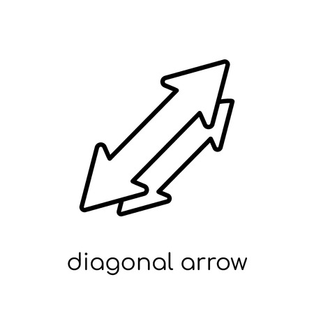 diagonal arrow icon. Trendy modern flat linear vector diagonal arrow icon on white background from thin line collection, outline vector illustration 스톡 콘텐츠 - 112137163
