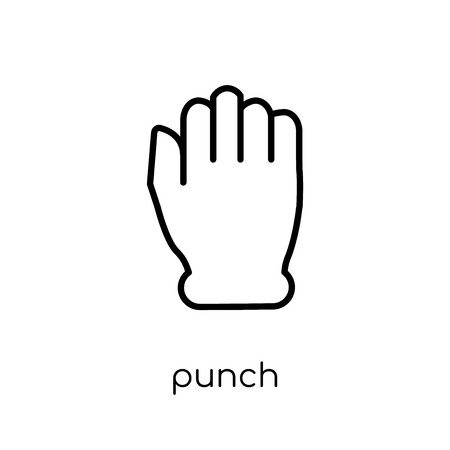 Punch icon. Trendy modern flat linear vector Punch icon on white background from thin line Hands and guestures collection, editable outline stroke vector illustration