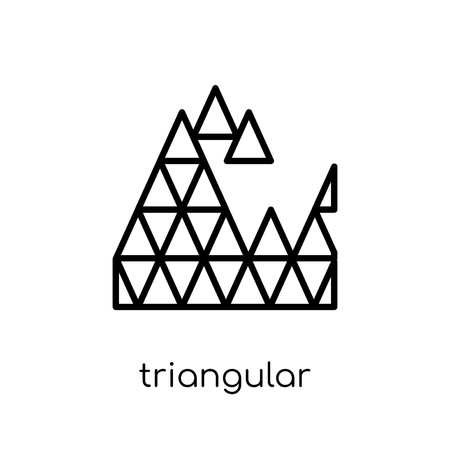 triangular shapes forming waves icon. Trendy modern flat linear vector triangular shapes forming waves icon on white background from thin line Geometry collection, outline vector illustration Stok Fotoğraf - 112137174