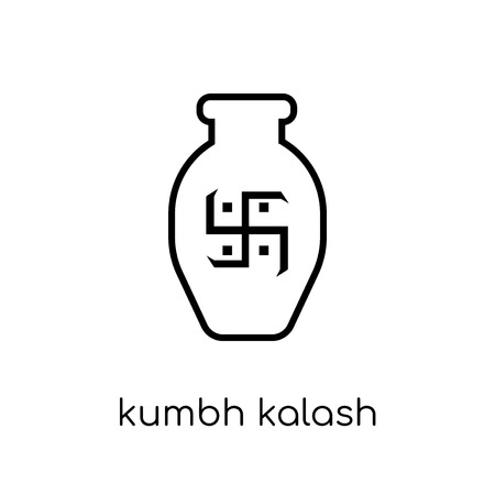 Kumbh kalash icon. Trendy modern flat linear vector Kumbh kalash icon on white background from thin line india collection, editable outline stroke vector illustration Stock Vector - 112137173