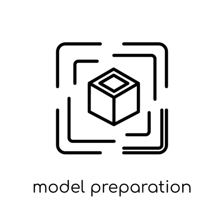 model preparation icon. Trendy modern flat linear vector model preparation icon on white background from thin line General collection, editable outline stroke vector illustration 向量圖像