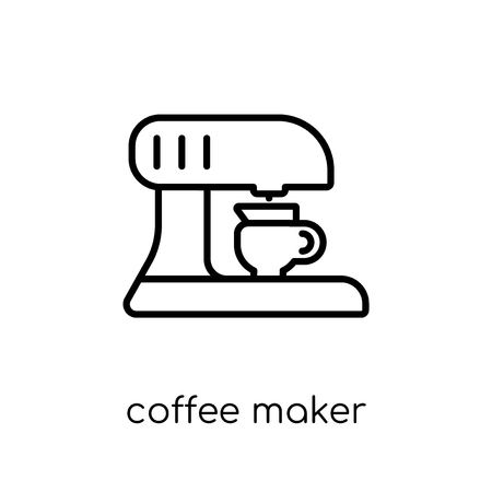 coffee maker icon. Trendy modern flat linear vector coffee maker icon on white background from thin line collection, outline vector illustration