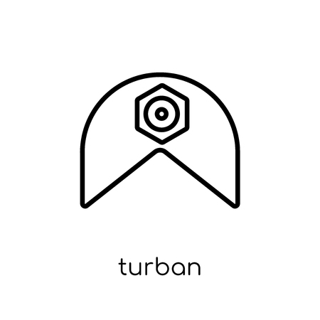 Turban icon. Trendy modern flat linear vector Turban icon on white background from thin line india collection, editable outline stroke vector illustration Иллюстрация