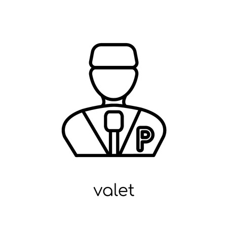 valet icon. Trendy modern flat linear vector valet icon on white background from thin line Hotel collection, outline vector illustration Illustration