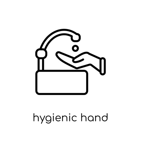 Hygienic hand icon. Trendy modern flat linear vector Hygienic hand icon on white background from thin line Hands and guestures collection, editable outline stroke vector illustration  イラスト・ベクター素材