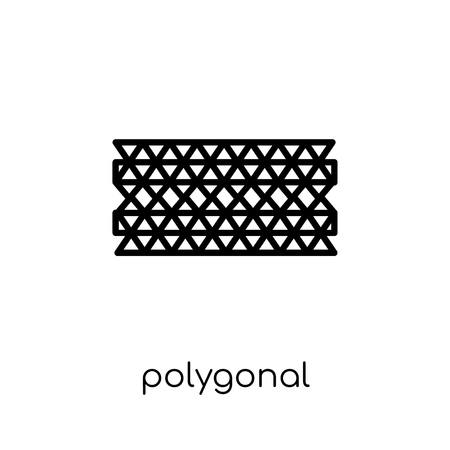 polygonal ornamental shape of triangles icon. Trendy modern flat linear vector polygonal ornamental shape of triangles icon on white background from thin line Geometry collection, outline vector illustration